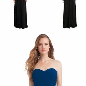 Bill Levkoff Navy Blue Strapless Evening Gown
